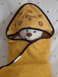 Cape de bain Lion moutarde Personnalisée